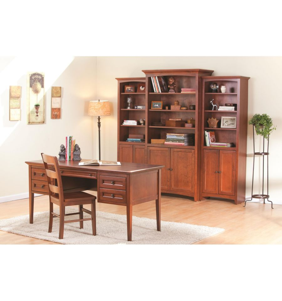 McKenzie Bookcases with Doors Bare Wood Fine Wood