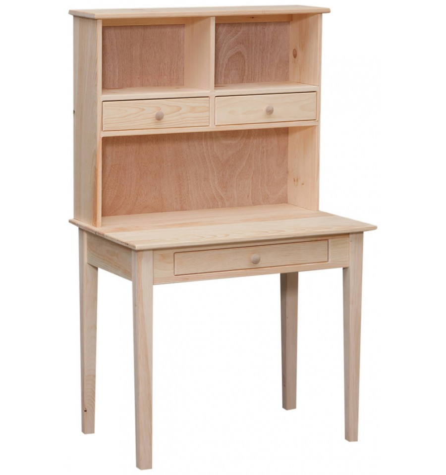 35 Inch Writing Desk And Hutch Bare Wood Fine Wood