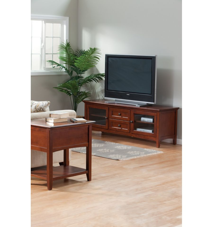 64 Inch Mckenzie 2 Drawer Tv Console Bare Wood Fine
