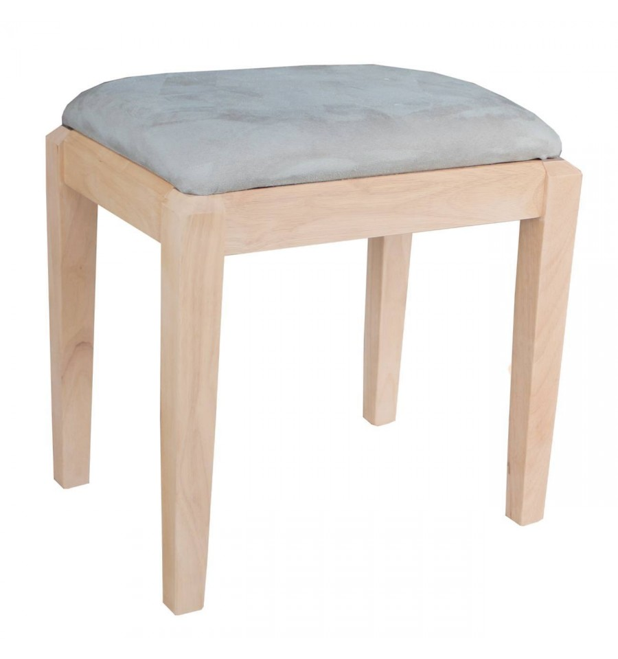 Vanity Bench With Microfiber Bare Wood Fine Wood