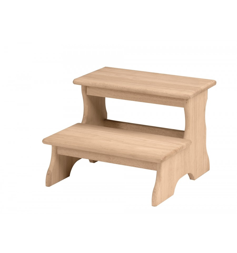 19 Inch Two Step Stool Bare Wood Fine Wood Furniture