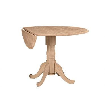 42 Inch Round Dropleaf Dining Tables Bare Wood Fine Wood