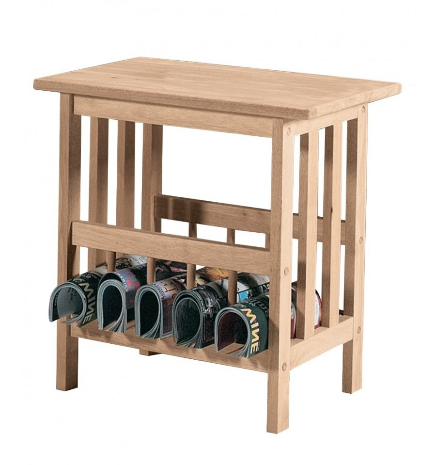 22 Inch Mission Magazine Table Bare Wood Fine Wood