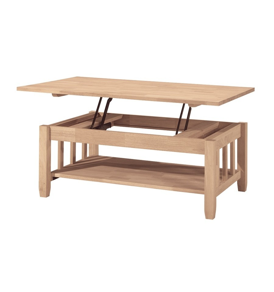 42 inch] mission lift top coffee table - bare wood fine wood