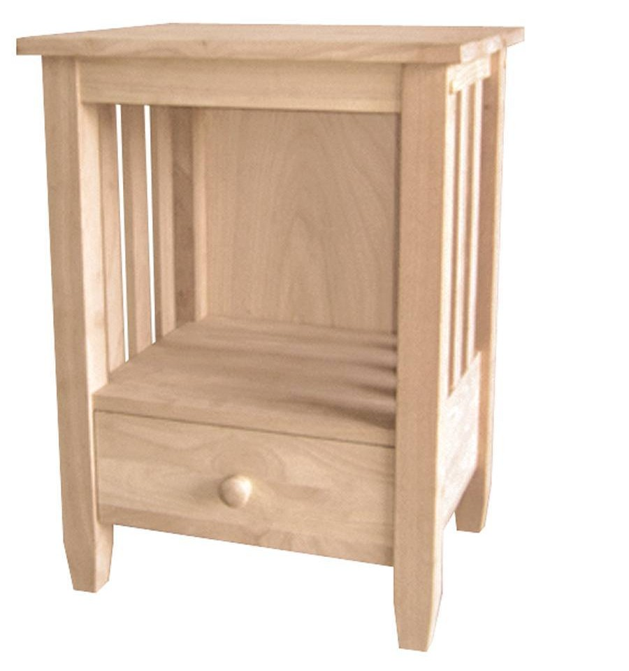 21 inch mission end table with drawer bare wood fine for End tables with drawers