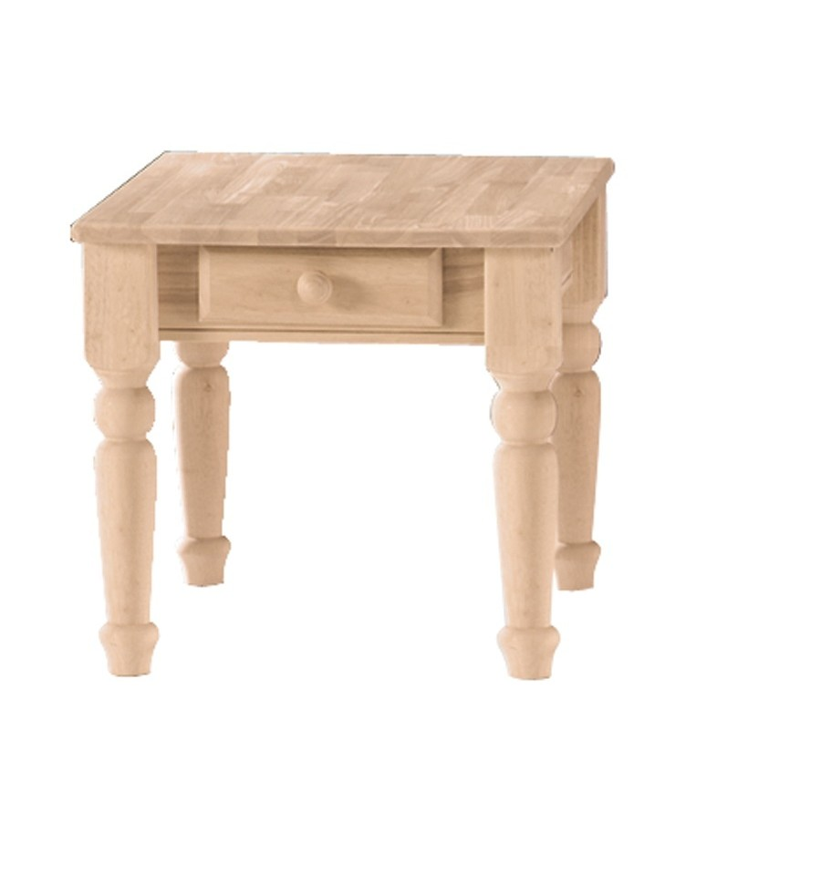 26 Inch] Traditional End Table - Bare Wood Fine Wood Furniture