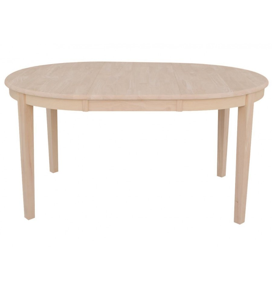 60 inch shaker oval butterfly dining table bare wood for Oval dining table