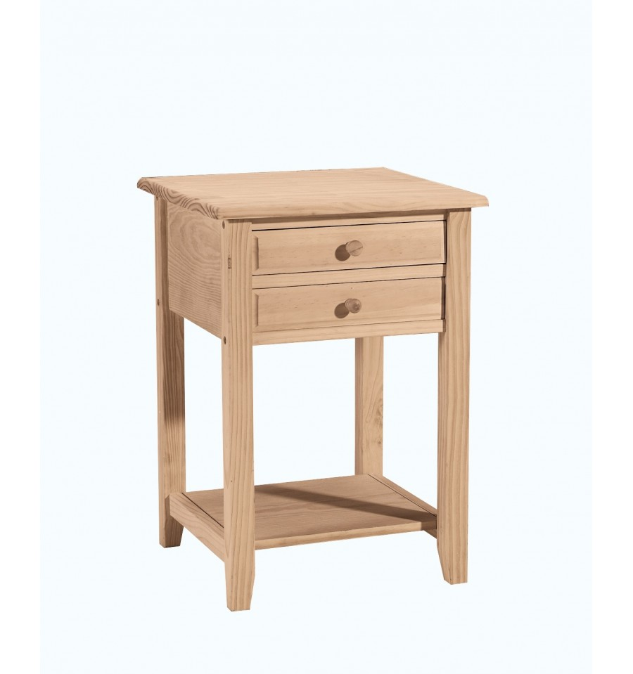 18 inch lamp table with 2 drawers bare wood fine wood for Occasional table with drawers