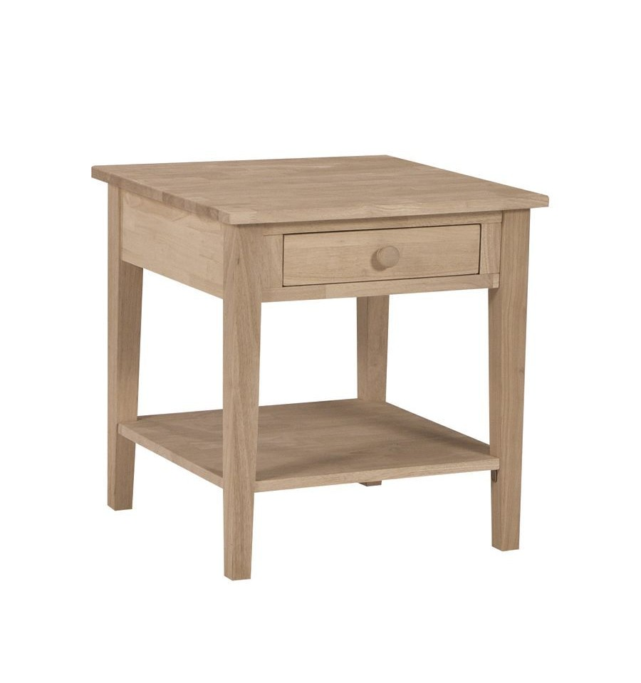 24 inch spencer end table bare wood fine wood for Coffee tables 18 inches wide