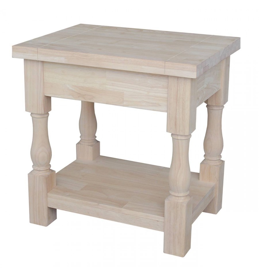 24 Inch Tuscan End Table Bare Wood Fine Wood Furniture Groton Ct