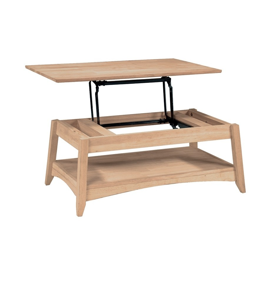 40 Inch Bombay Lift Top Coffee Table Bare Wood Fine