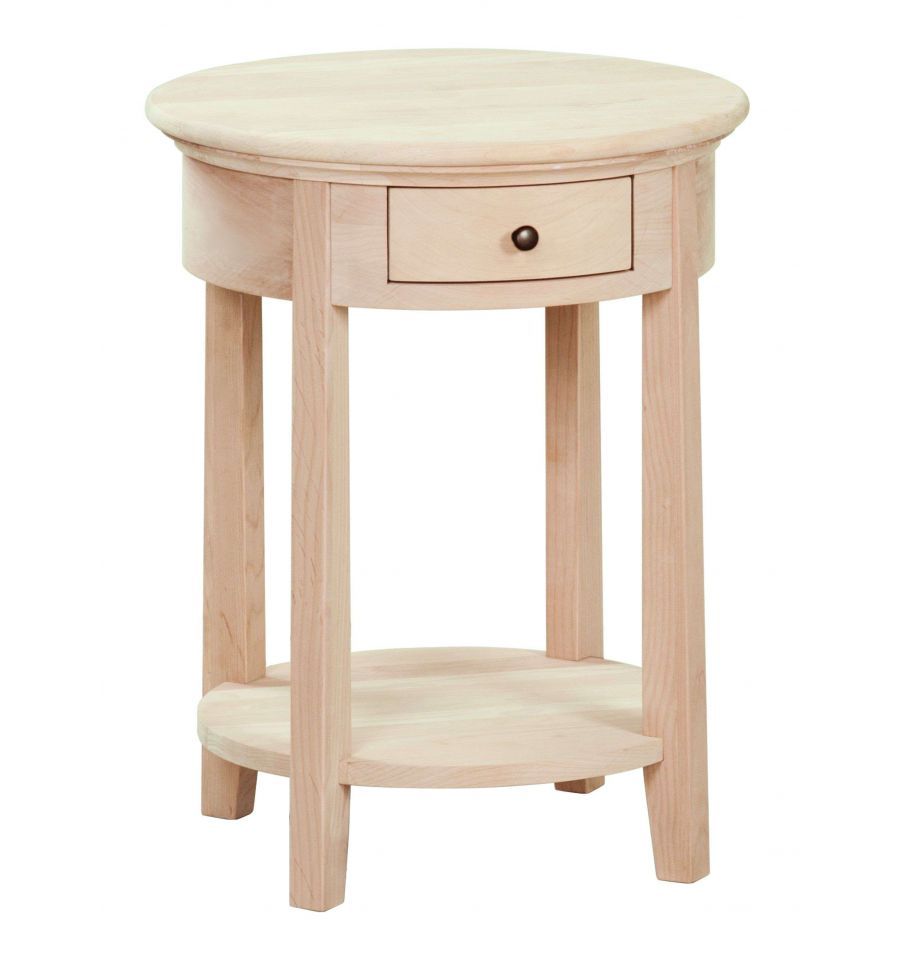 Round Wood Side Table ~ Inch mckenzie round side tables bare wood fine