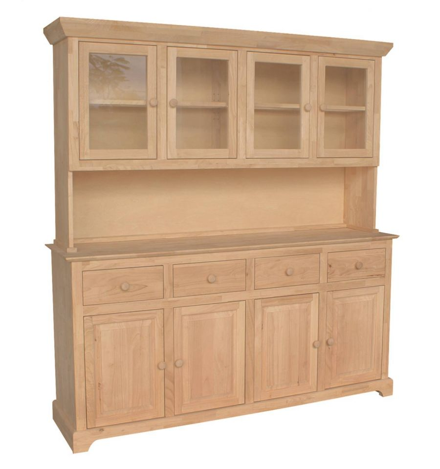71 Inch Shaker Buffet And Hutch Bare Wood Fine Wood