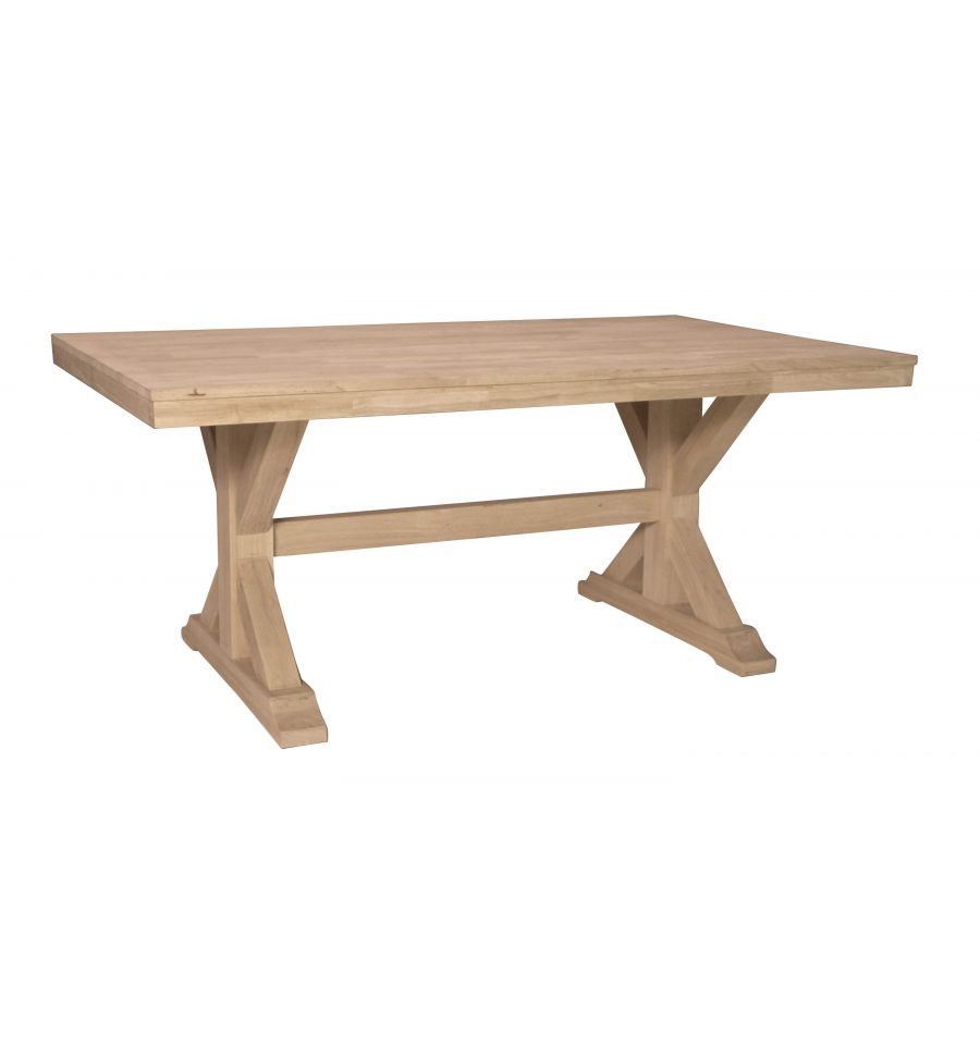 68 Inch Canyon X Dining Table Bare Wood Fine Wood
