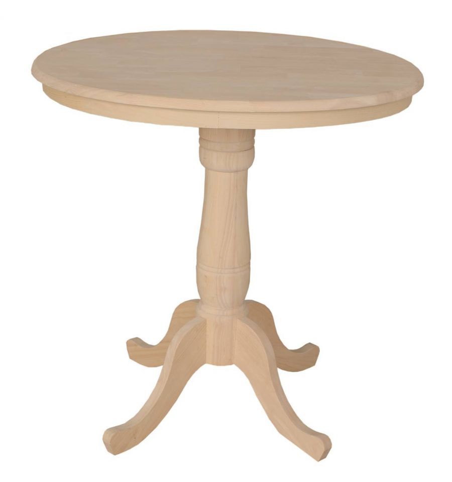 36 Inch Classic Round Table Bare Wood Fine Wood