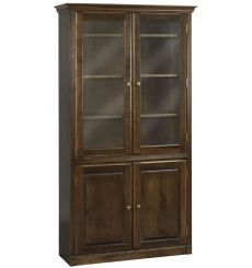 AWB Face Frame Crown Bookcases w Doors - Glass Doors