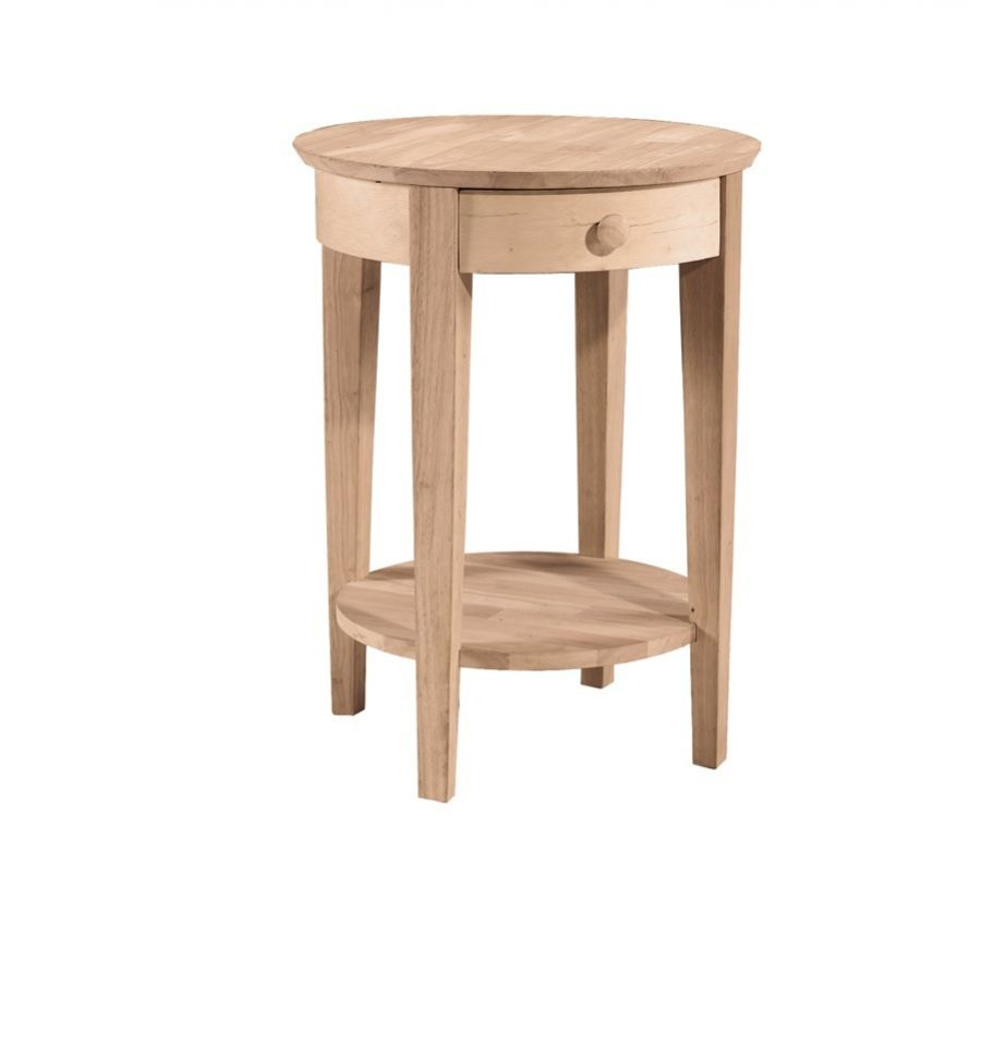 21 Inch Phillips Round Bedside Table Bare Wood Fine