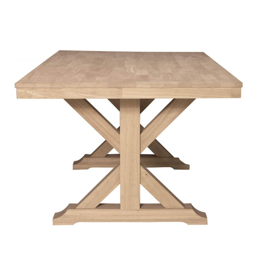 6 Inch] Canyon X Dining Table - Bare Wood Fine Wood Furniture